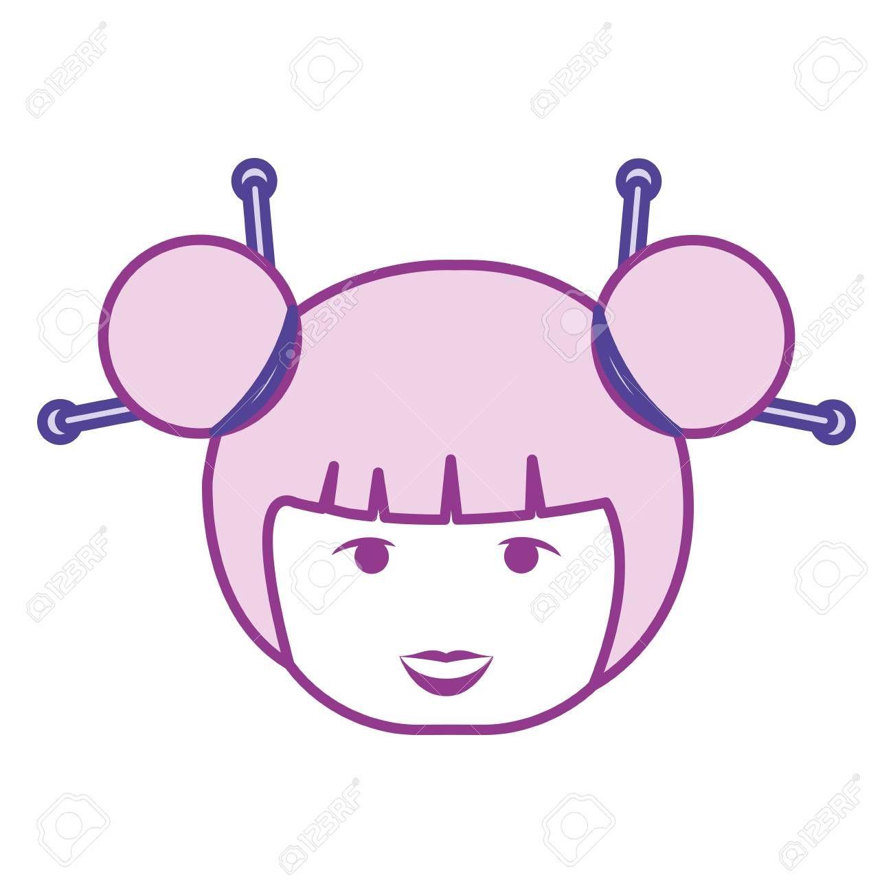 little japanese doll head kawaii character vector illustration design ,
