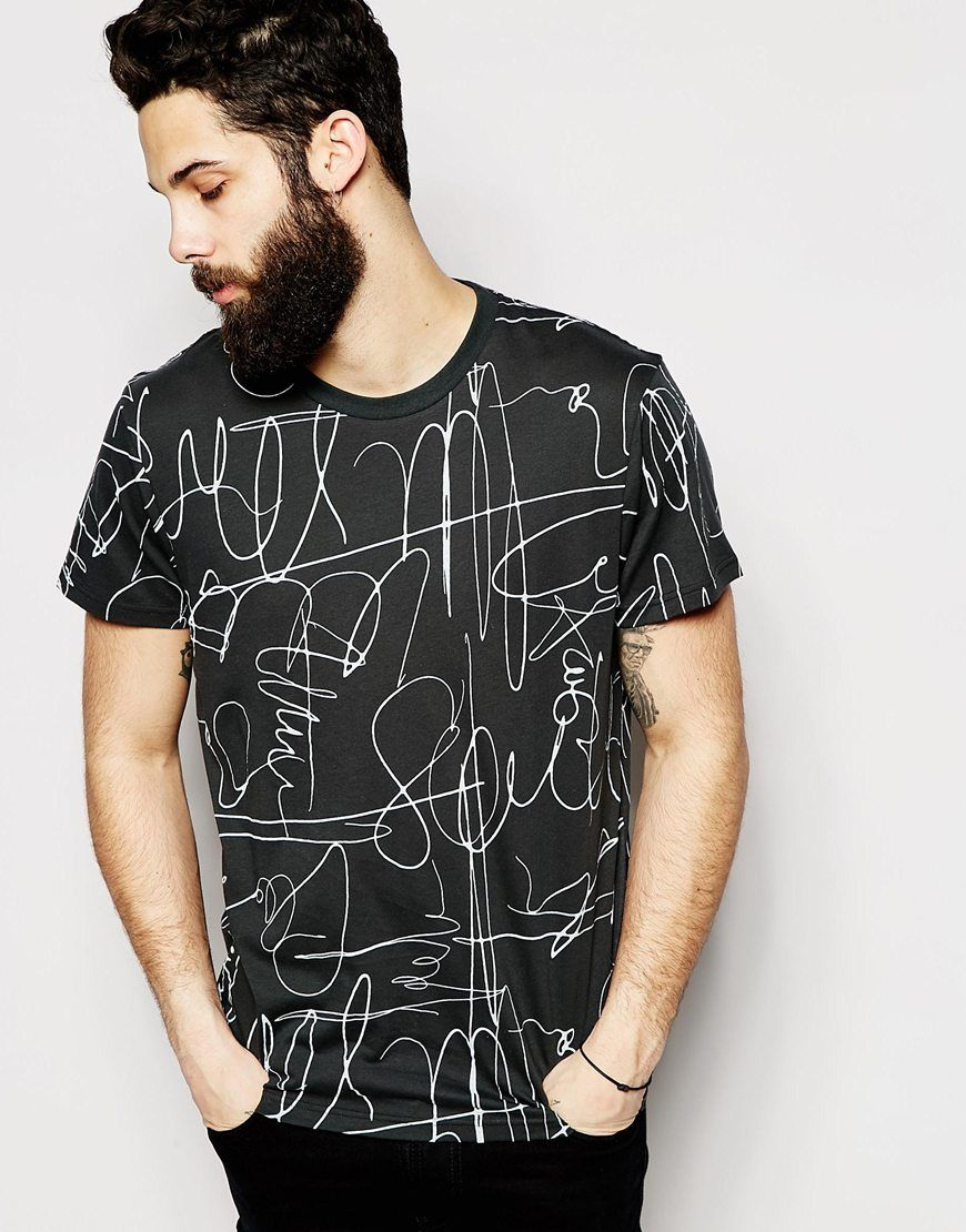 Image 1 Of Cheap Monday T Shirt All Over Autograph Print Mens