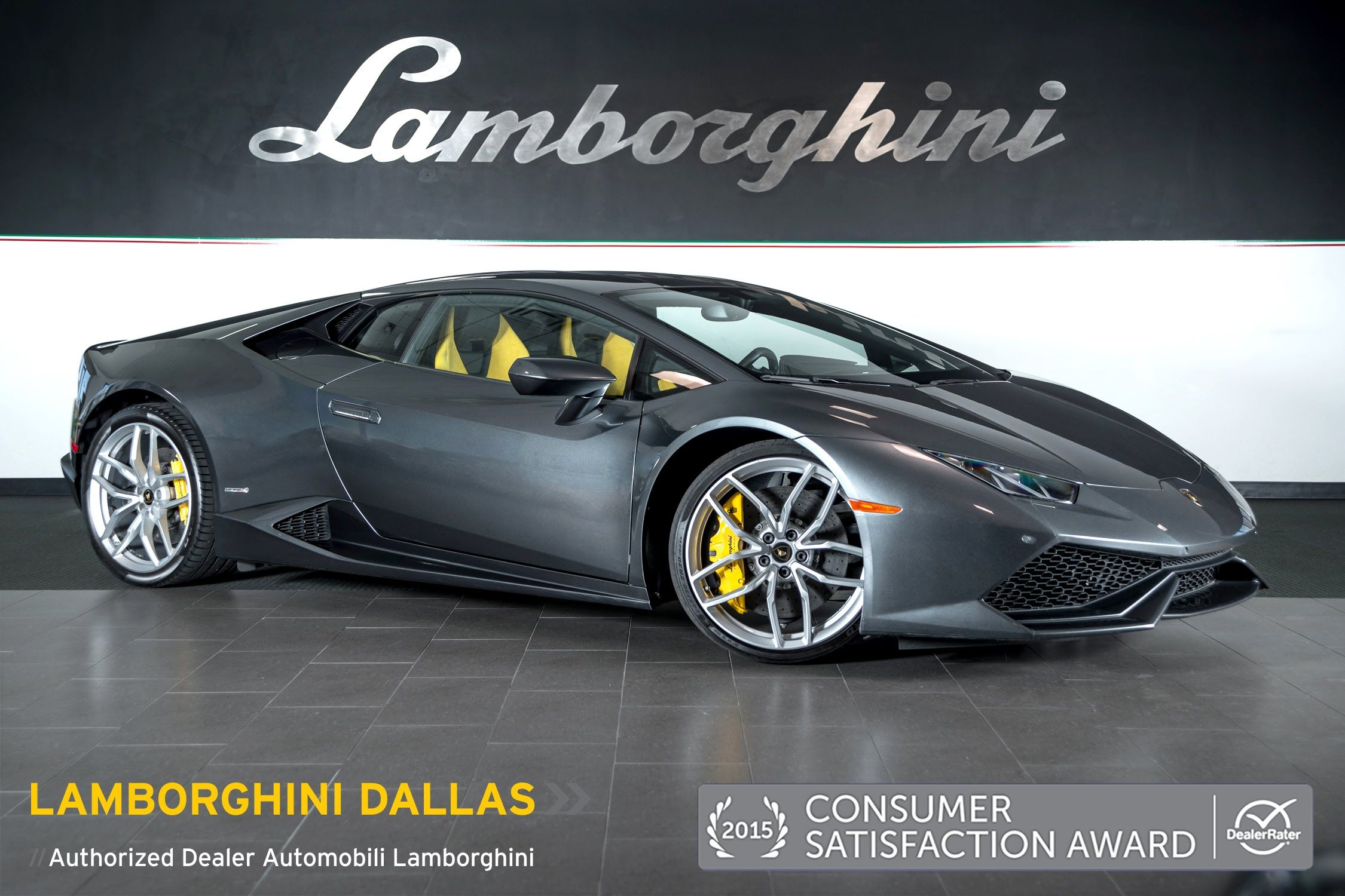 video clip of 2015 lamborghini huracan lp grigio lynx grey with yellow and black interior and yellow calipers