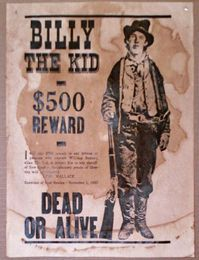 Billy The Kid Wanted Poster Reward Poster William Bonnet Wild West Outlaws Billy The Kids Wild West