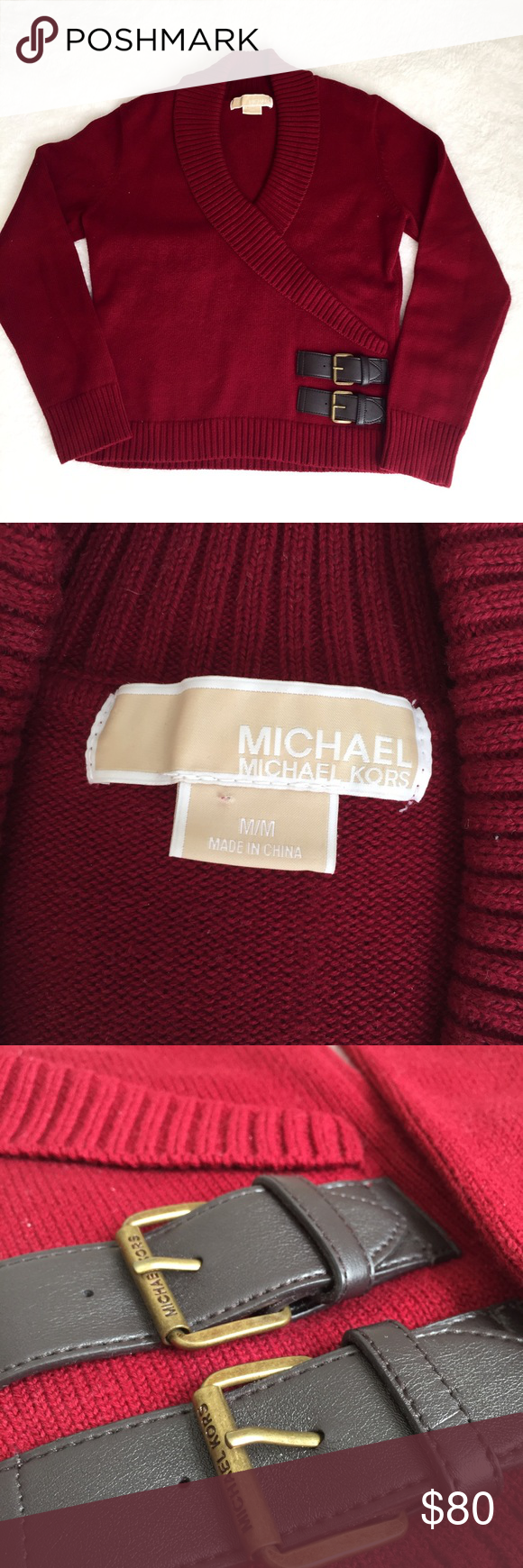 Michael Kors leather buckle sweater This gorgeous sweater is a staple in your closet! The leather buckle is beautiful. Michael Kors Sweaters V-Necks