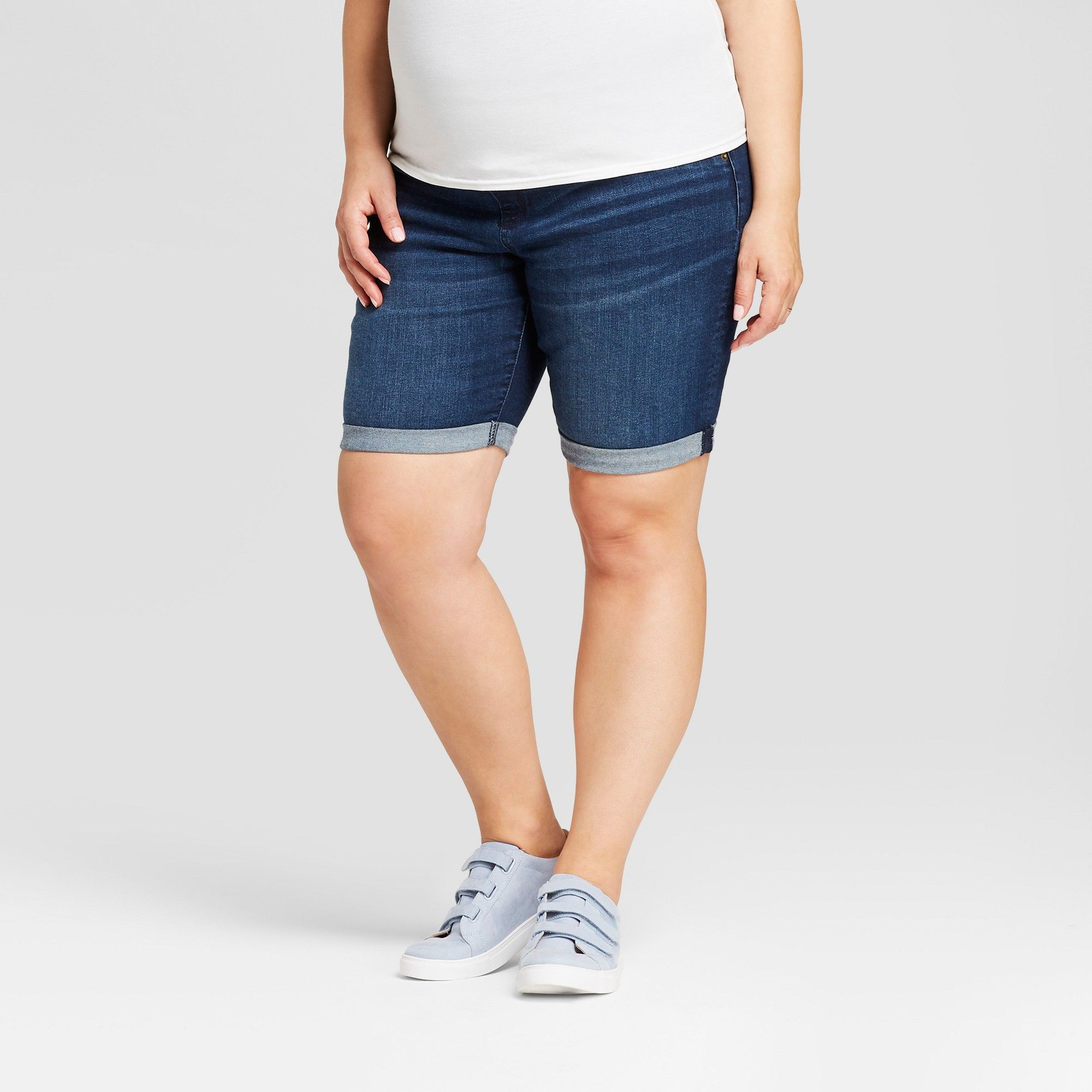 ce6e97dc3af83 Maternity Plus Size Crossover Panel Bermuda Shorts - Isabel Maternity by  Ingrid & Isabel Dark Wash 22W, Women's, Blue