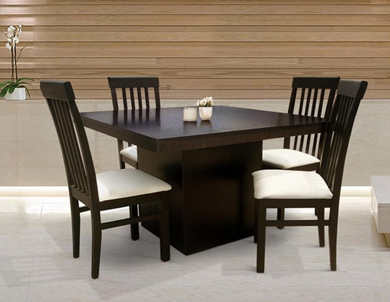 Comedor roy chocolate minimalista 4 sillas decoracion for Ver comedores de madera