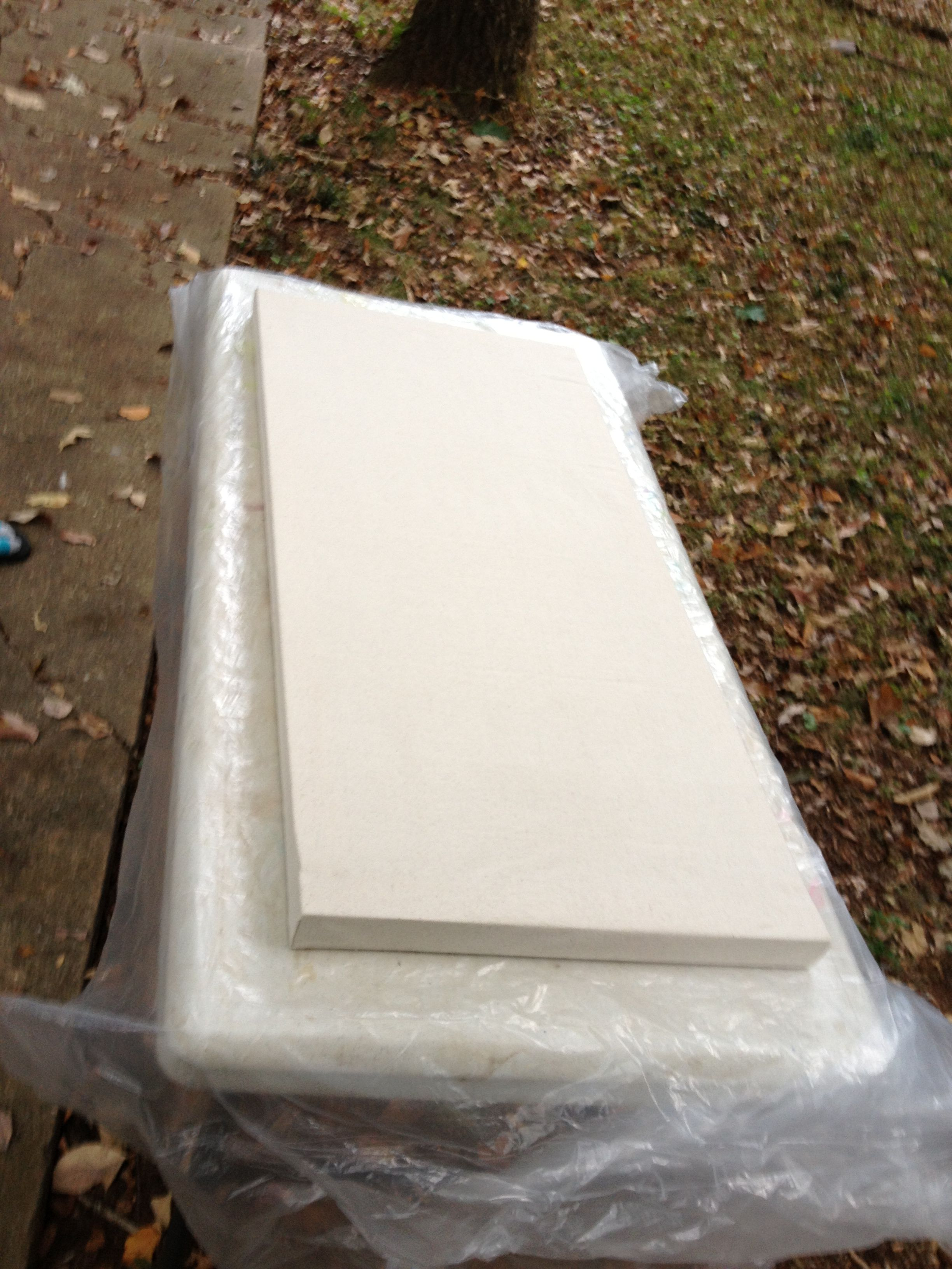 """Homemade canvas that my amazing hubby helped me with. Made 3 (18""""x 36"""") for less than $20!"""