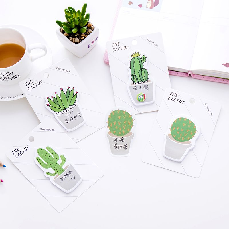 1 piece lytwtws new korean kawaii memo stickers sticky notes message pad cute cactus post it diy office school stationery