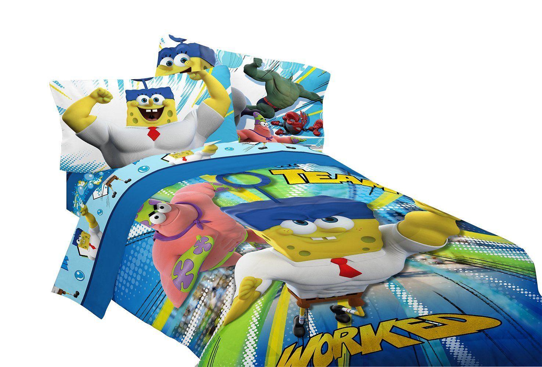 Amazon Com Nickelodeon Sponge Bob Mr Awesome Twin Full Reversible Comforter 72 By 86 Inch Spongebob Kids Bedding Spongebob Squarepants Toys Spongebob bedroom set images
