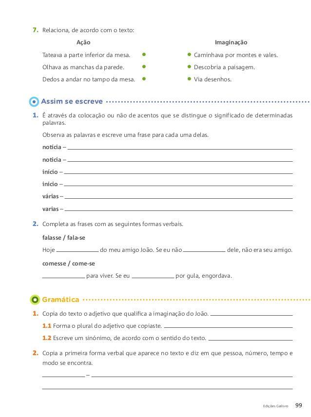 Fichas Do Prefessor Portugues Livro De Portugues Atividades De