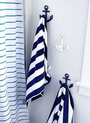 Anchor Wall Hooks Add Nautical Charm To A Beach House Bathroom. From  Pottery Barn Kids Via Completely Coastal.