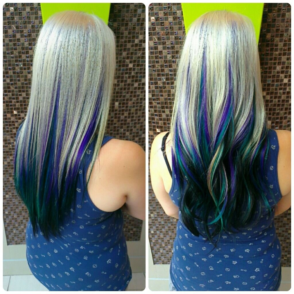 Full Platinum Blonde With Violet Turquoise And Blue Black