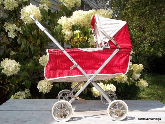 Retro Doll Buggy Carriage Vintage 1960s Toy Photo Prop