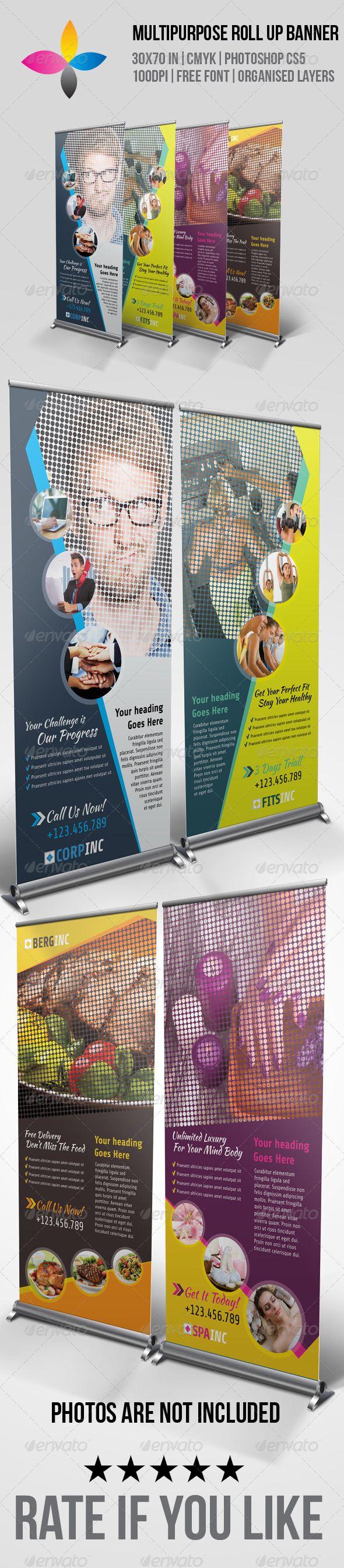 Multipurpose Roll Up Banner Template #design Download: graphicprime.com/...