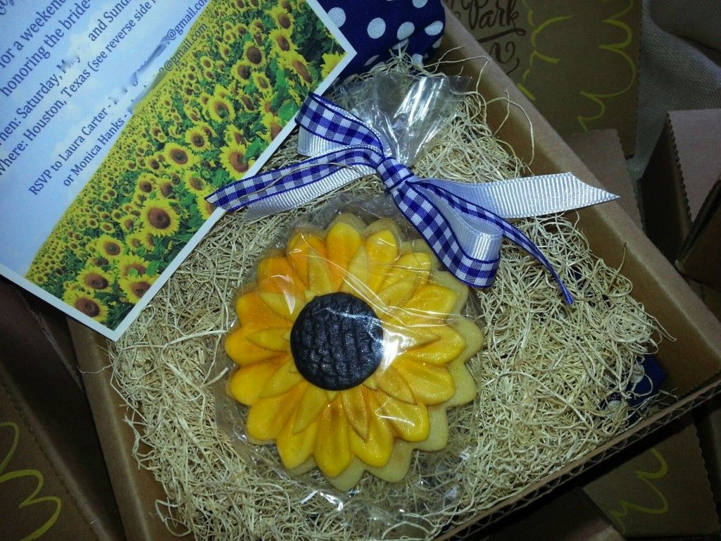 Sunflower themed Bachelorette party Invitation with cookie by Mary ...