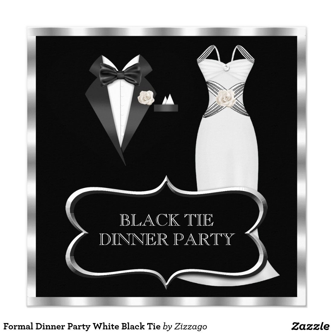 formal dinner party white black tie card zizzago