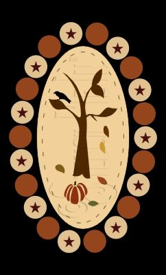Autumn Days Penny Rug     Design Measures 6.25x11  Overall Stencil Measures 7.25x12