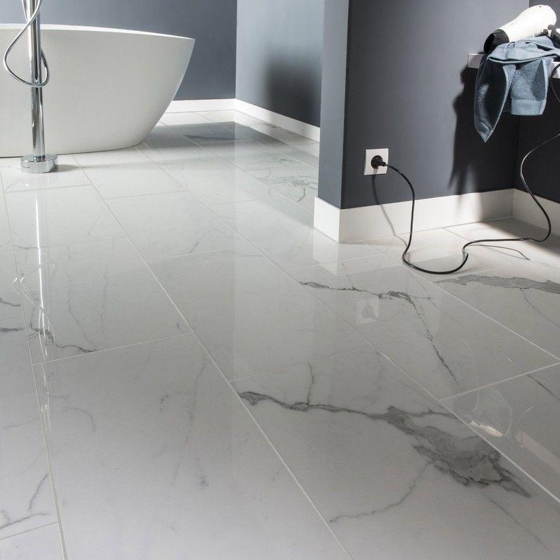 Carrelage Sol Et Mur Blanc Effet Marbre Rimini L 30 X L 60 Cm
