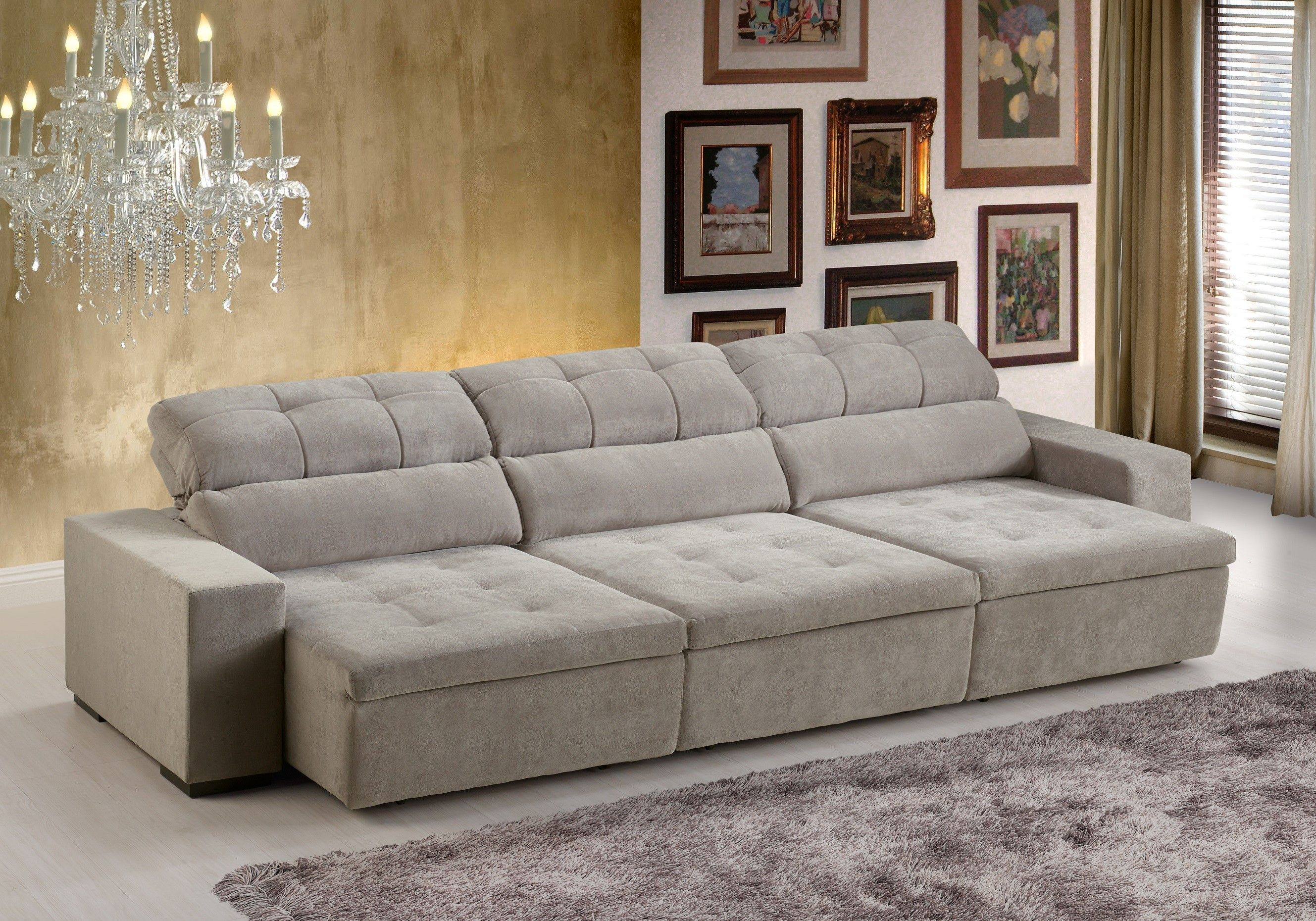Sof london 5 lugares assento retr til e encosto for Sofa 03 lugares retratil e reclinavel