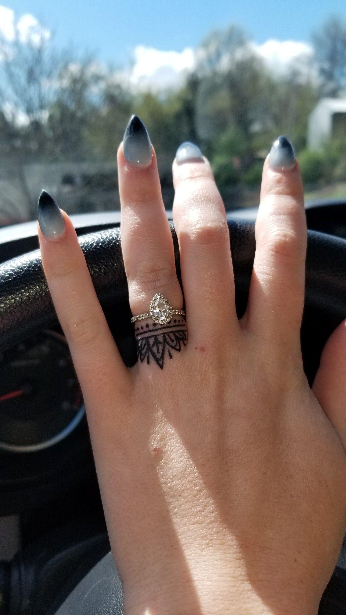 Finger tattoo. Wedding ring tattoo. Flower crown tattoo