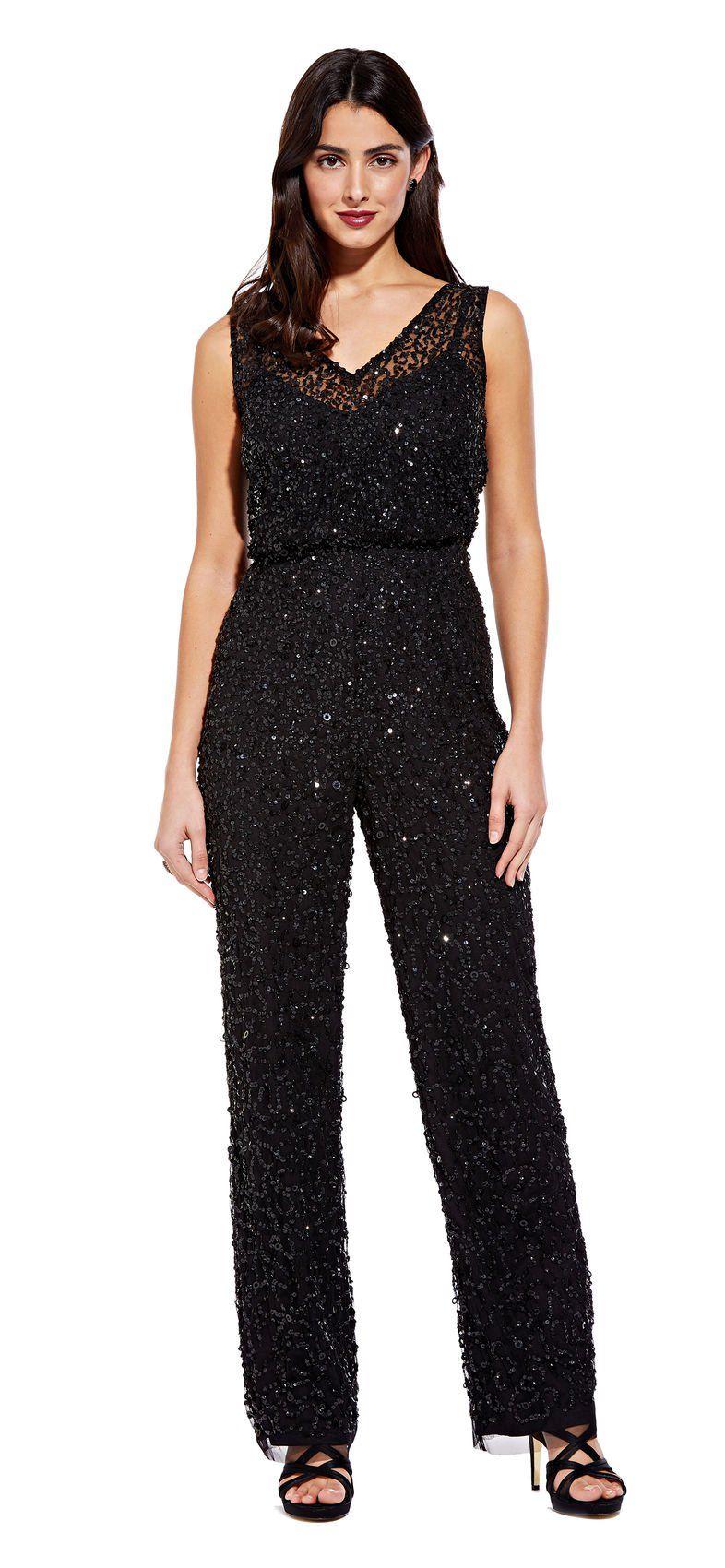 d672d7e8369 Sequin Beaded Jumpsuit with Illusion Neckline