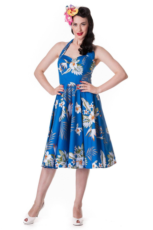 52b5f6997b1 Hell Bunny Aloha Tropical Hawaiian Flower Print Alika Halter Dress ...