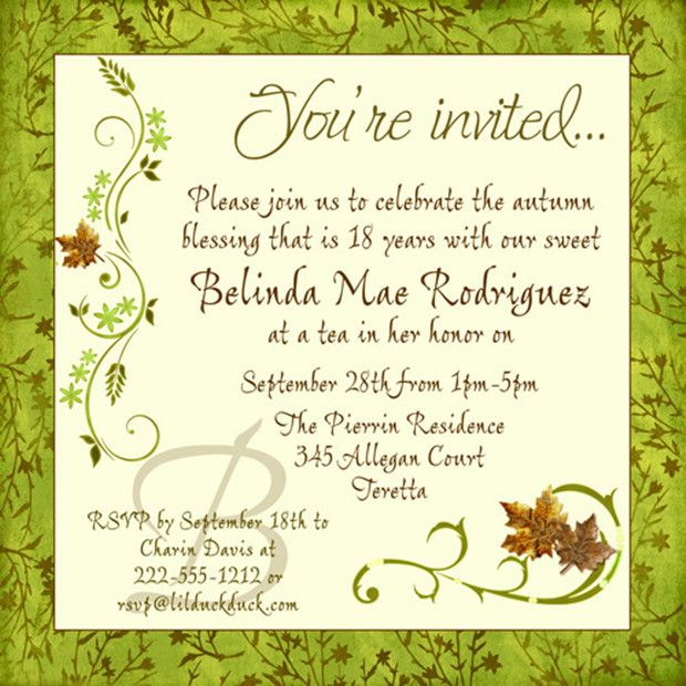 Chic Fall 18th Birthday Invitation Green Blessing