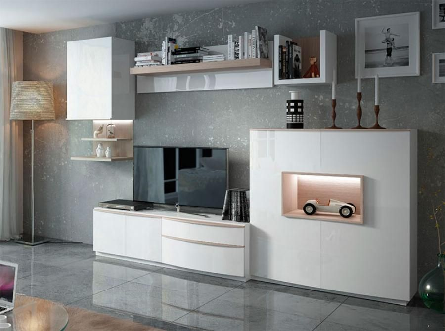 Fenicia Modern Wall Storage System With TV Unit, Cabinet And Shelving