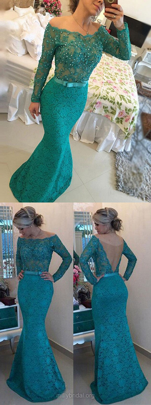 Long Sleeve Lace Prom Dresses, Off the shoulder Teal Prom Dress with Lace Appliques, Pearl Beaded long Elegant Prom Dress with a Chic Bow