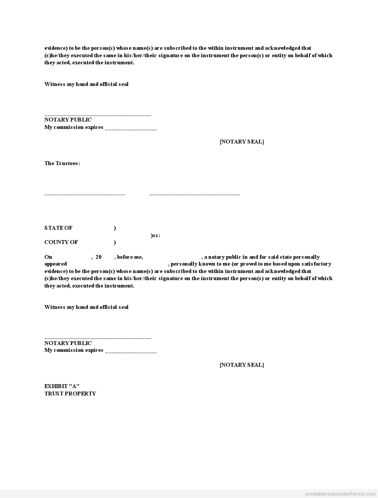 Printable Pp Trust Template   Sample Forms