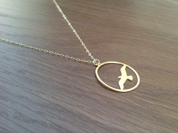 Gold necklace seagull necklace bird necklace gold necklace bird necklace sea gull silhouette golden seagull by lulumayjewelry mozeypictures Gallery