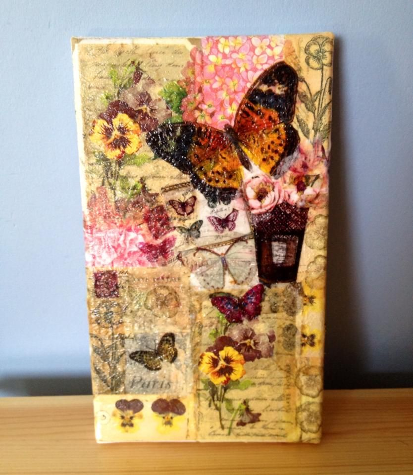 Paper napkin decoupage canvas my crafts pinterest for Newspaper canvas art