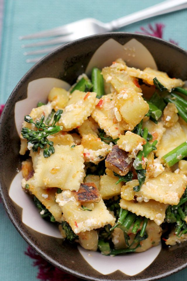 Ravioli Salad with Broccolini, Sweet Potatoes, Feta and Harissa