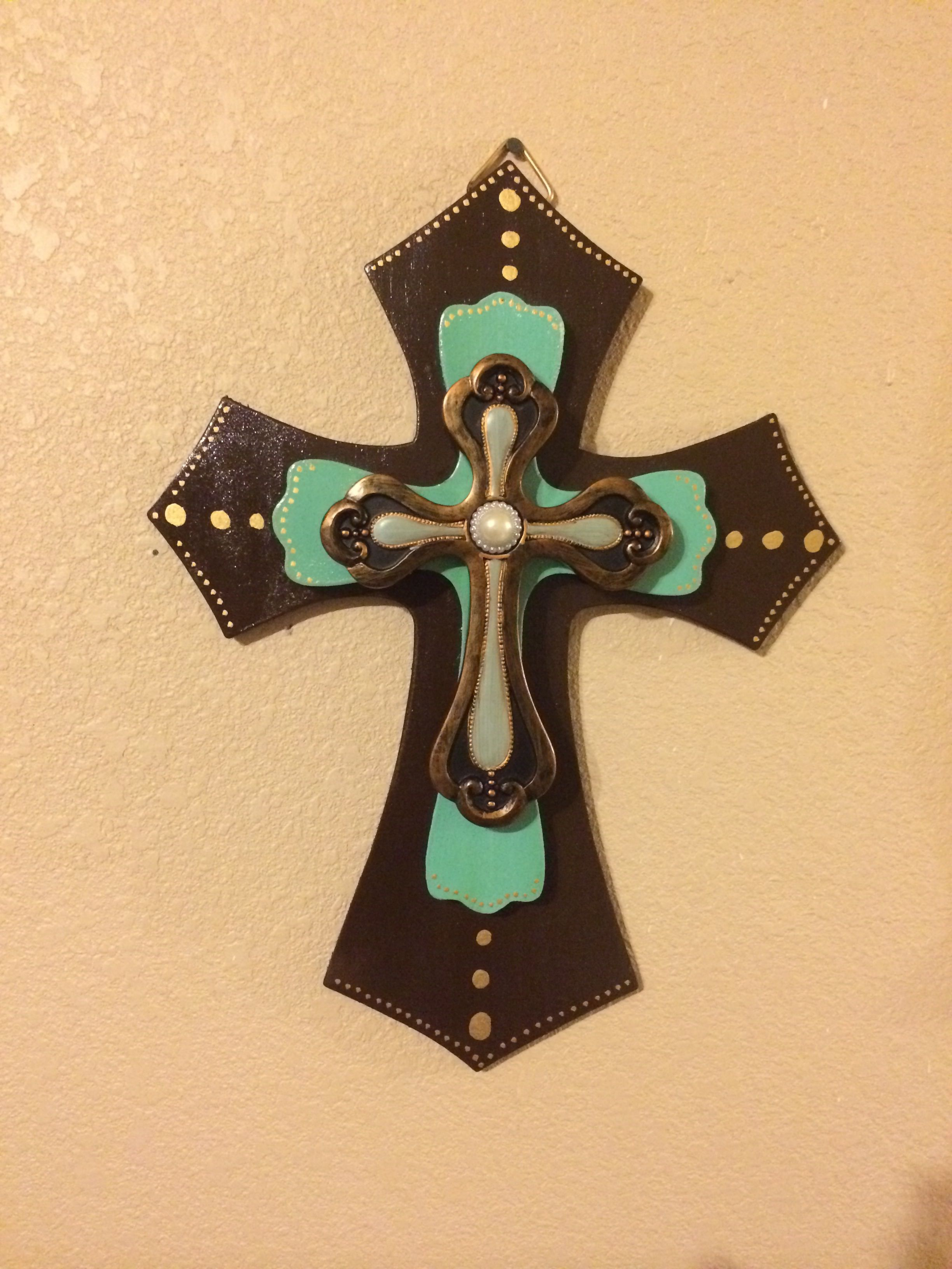 Chocolate Mint Pearl Wooden Cross. | Wooden crosses. | Pinterest ...