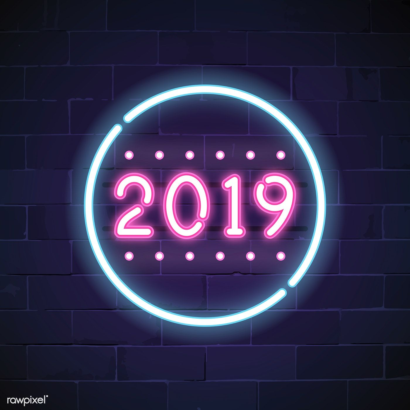Blue 2019 neon sign vector free image by