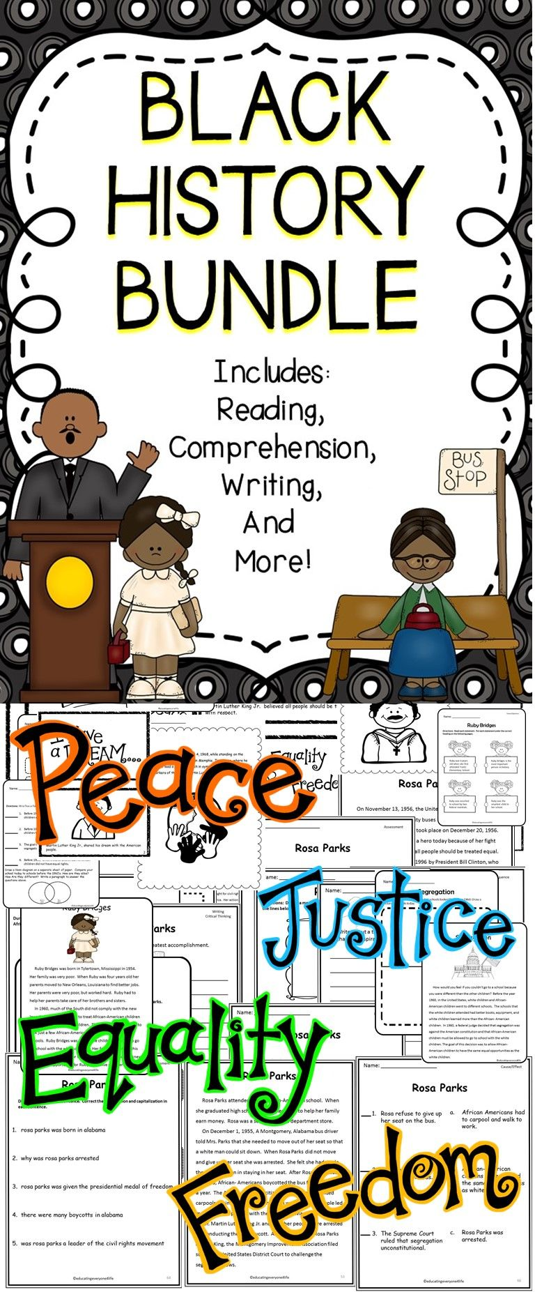 Black History - Celebrate Black History Month With This Engaging Educational Resource. This black history bundle includes: Reading Comprehension, Graphic Organizers, Assessments, Writing Activities, and More!