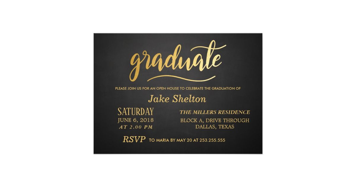 Custom Chalkboard Gold Typography Open House Graduation Card Created By Graduate This Invitation Design Is Available On Many Paper Types And