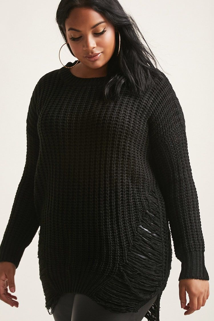 Product Nameplus Size Distressed Open Knit Sweater Category