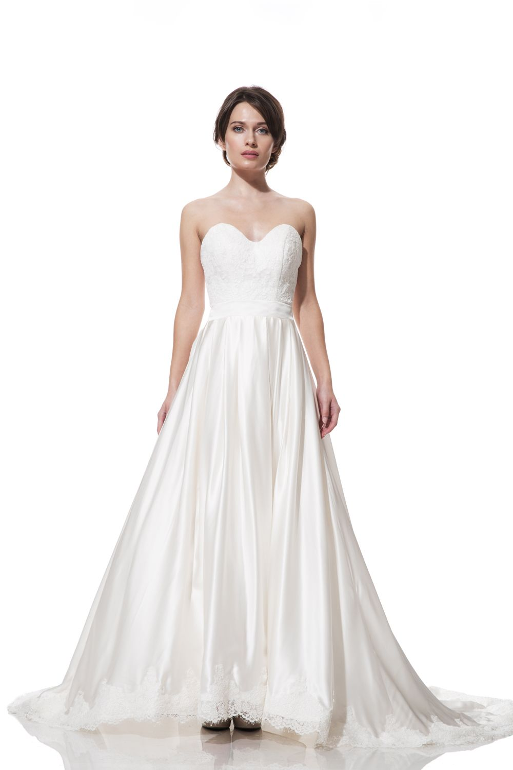 Ebie is a classic ball gown of silk charmeuse with a fitted bodice ...