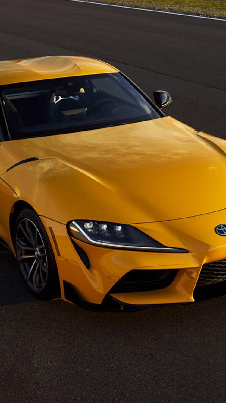Download 2021 Toyota Gr Supra Yellow Car Wallpaper For Screen 750x1334 Iphone 7 Iphone 8 In 2020 Toyota Car Wallpapers Car