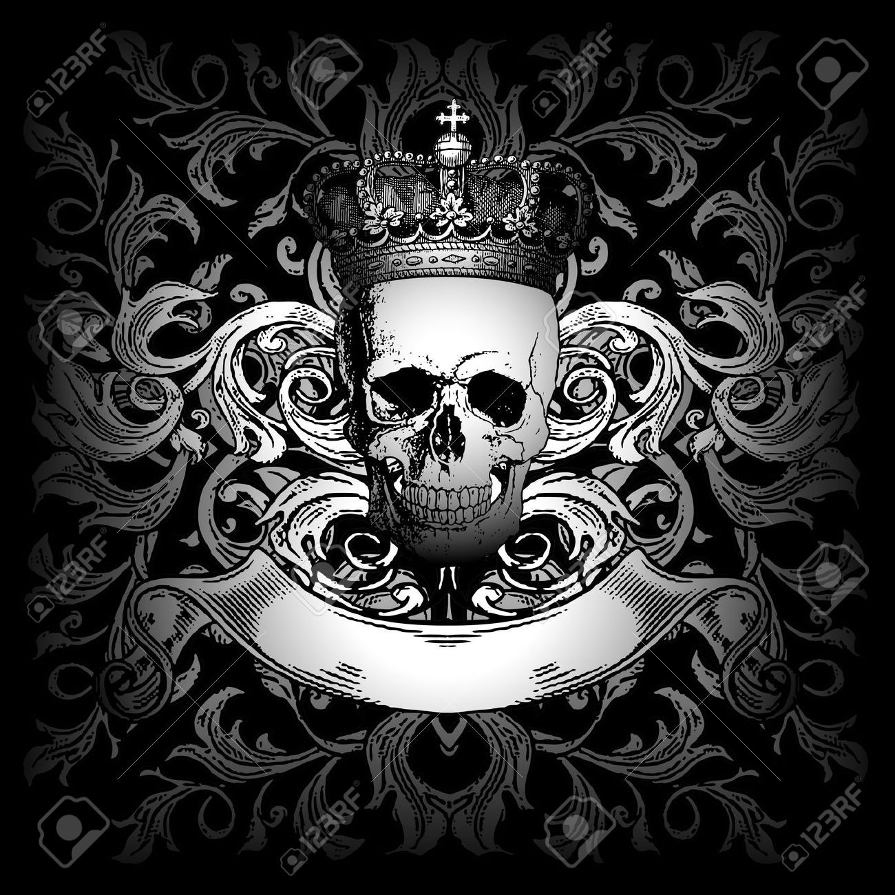 Skull and crown cliparts stock vector and royalty free skull and crowned skulls - Totenkopf wandbild ...