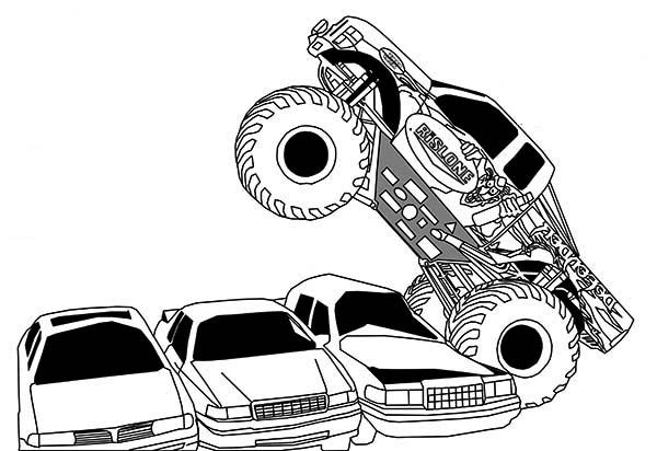 monster truck monster truck running over cars coloring page - Monster Truck Coloring Page