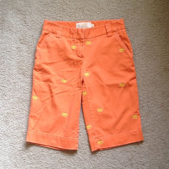 J. Crew City Fit Classic Twill Chinos in Orange 0 These are a great pair of J. Crew City Fit Classic Twill Chinos in Orange.  The yellow crab embroidered details are so cute.  No rips stains or tears.  Comes from a smoke free home. J. Crew Shorts Bermudas