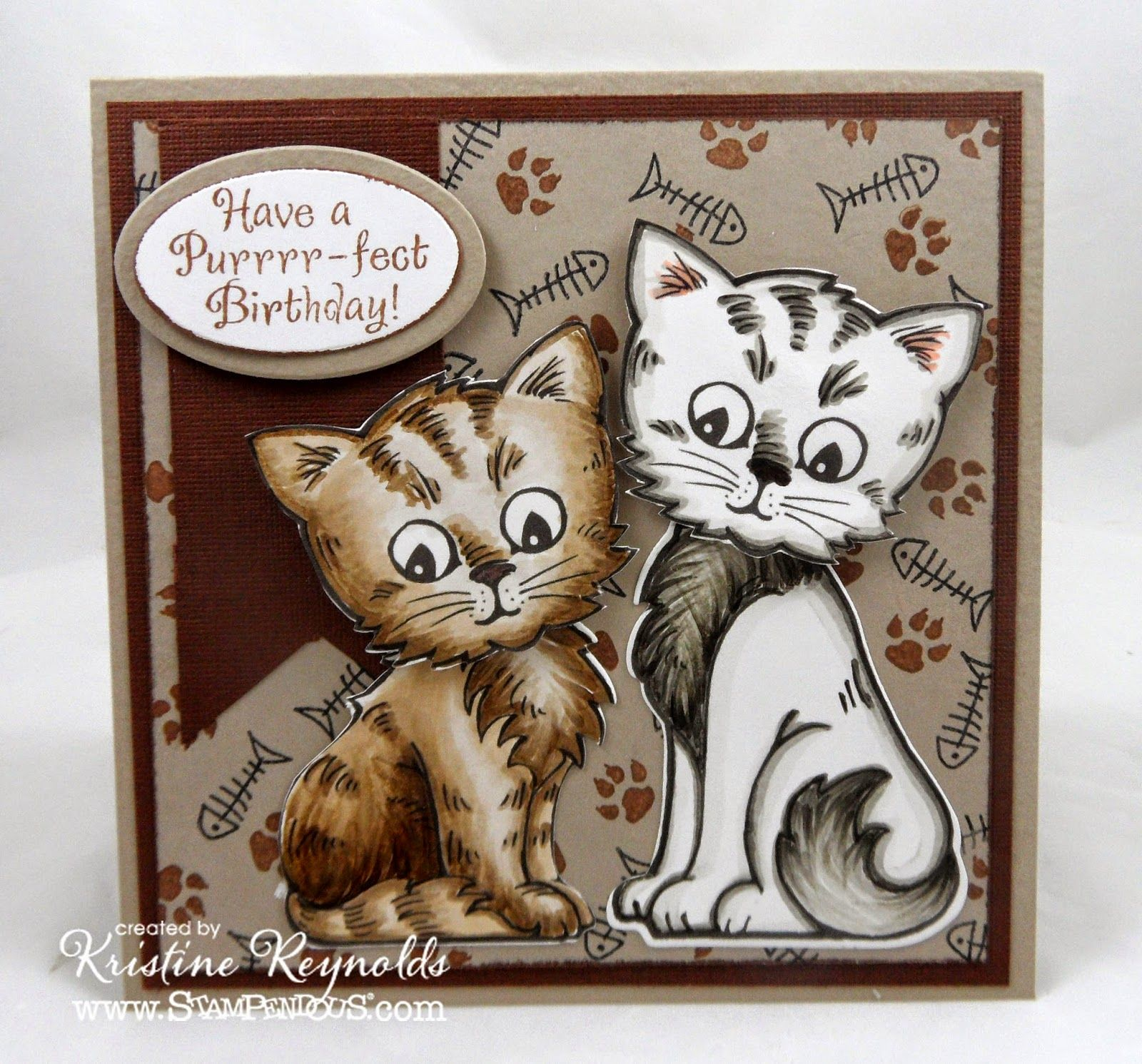 Stamping Scrapping In California Purrrr Fect Birthday Cat Cards Stampendous Cards Cards Crazy
