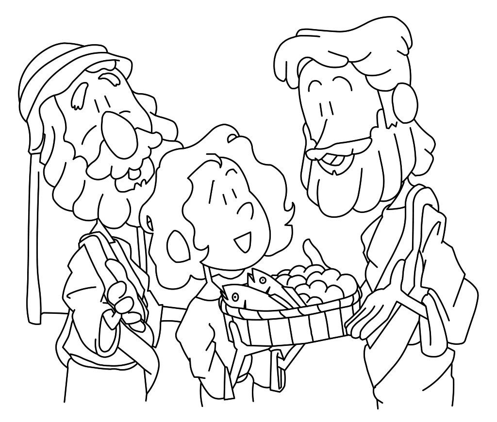 Jesus Feeds 5000 Coloring Page Free Pdf Download Bible