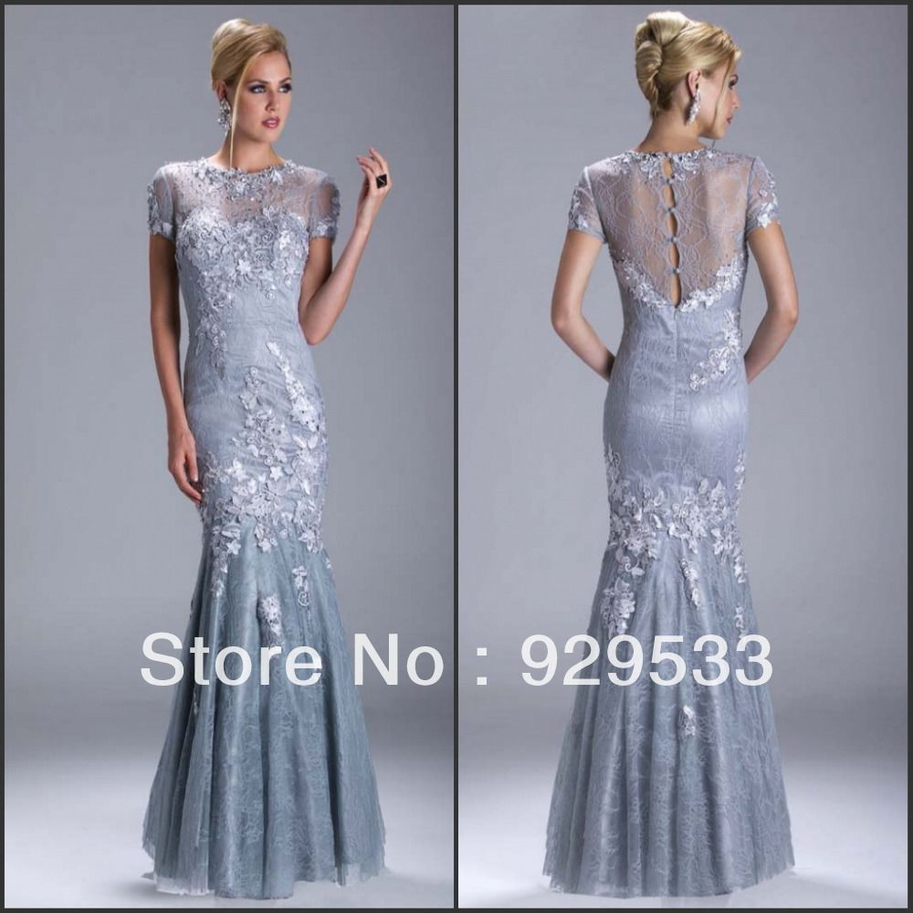New Sexy Custom Made Short Sleeve Appliques Lace Evening Dress Mother of the Bride Dress US $188.00