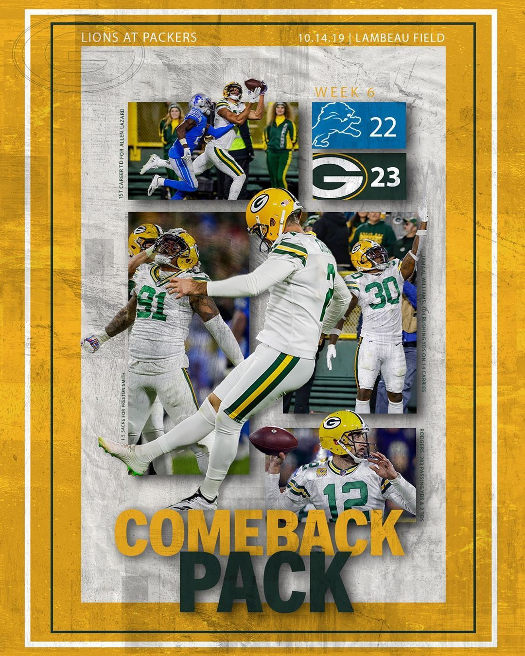 Green Bay Packers On Instagram Comeback Pack Week 6 Victory Poster Gopackgo Packers Green Bay Packers Green Bay