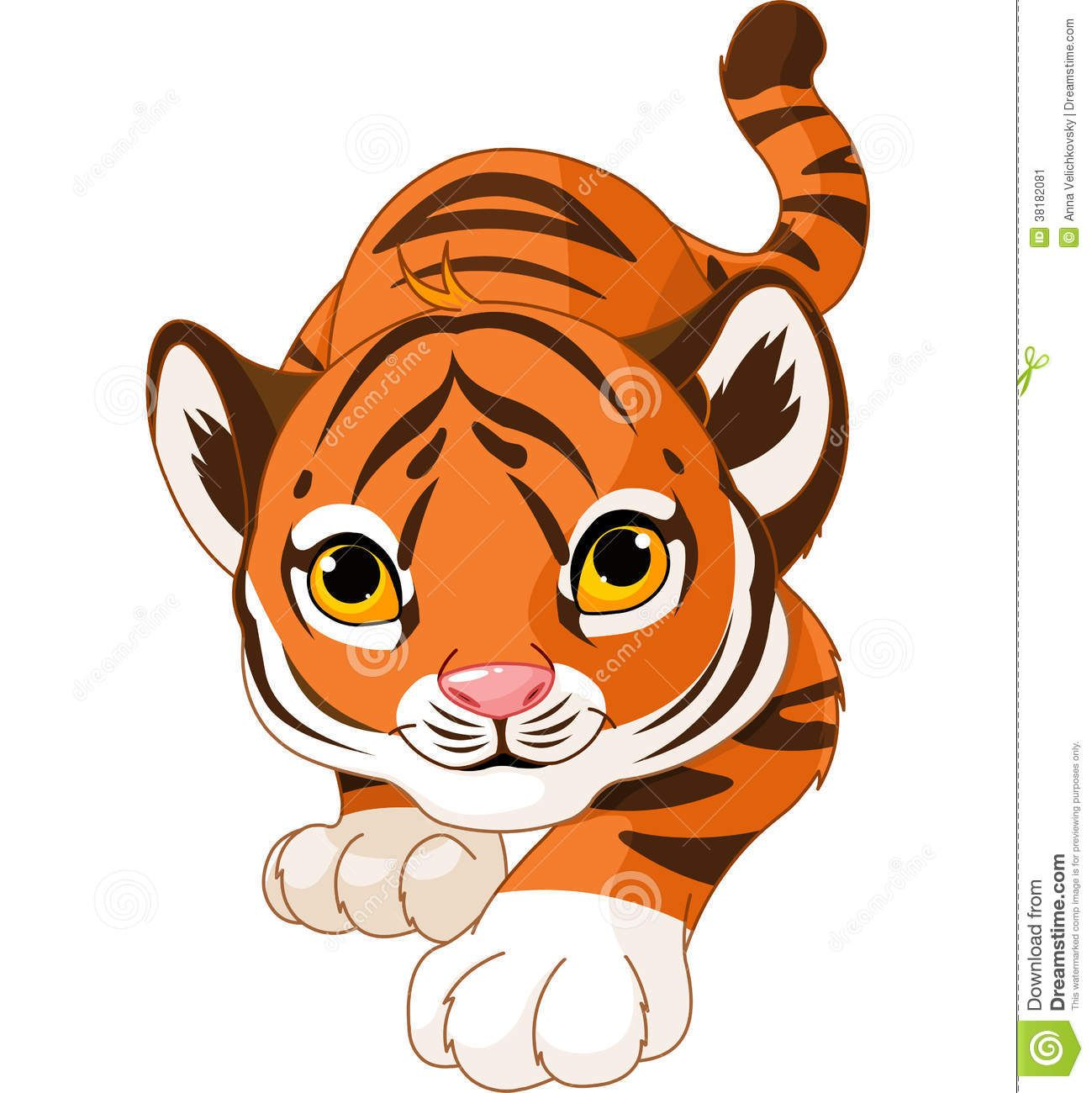 Crouching Tiger Clip Art Cartoon Tiger Cute Animal Drawings Cute Cartoon Animals