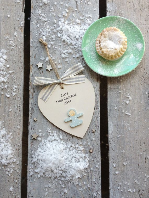 Personalised wooden heart Baby's First Christmas heart by weedots