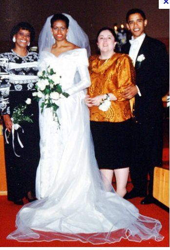 Barack and Michelle Robinson Obama on their wedding day with their - michelle obama resume
