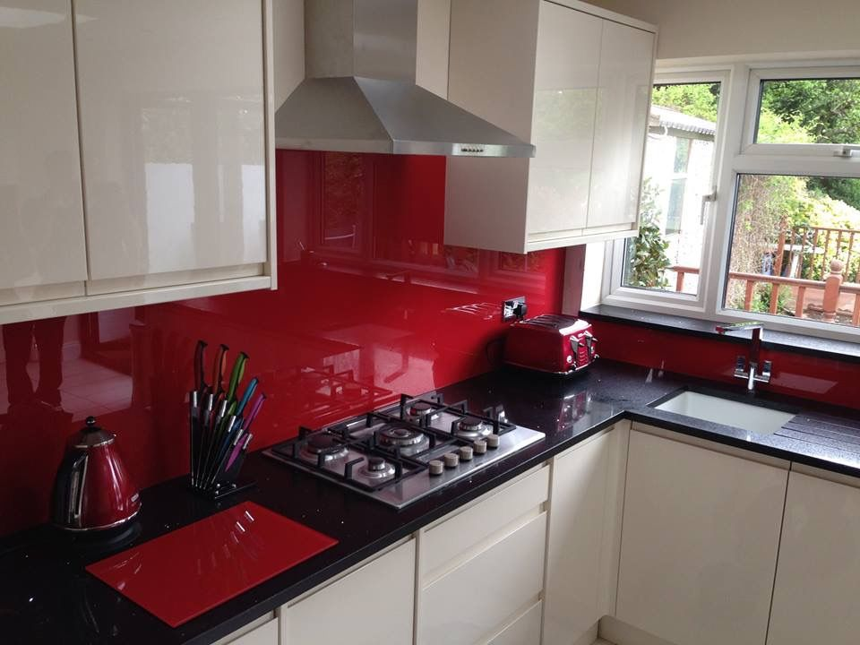 Red Kitchen Inspiration Black Counters And Red Backsplash