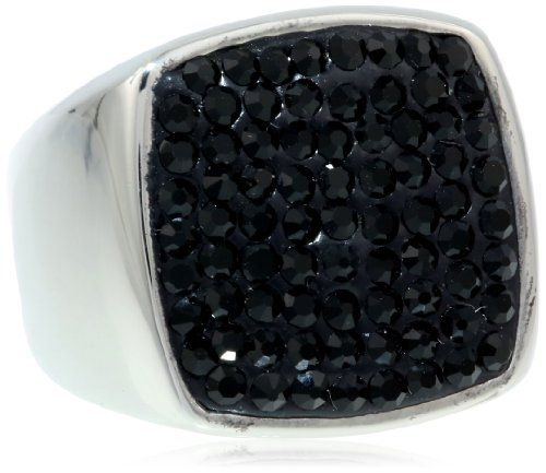 Men's Black Crystal Ring - http://www.ringsforhimandher.com/mens-black-crystal-ring/