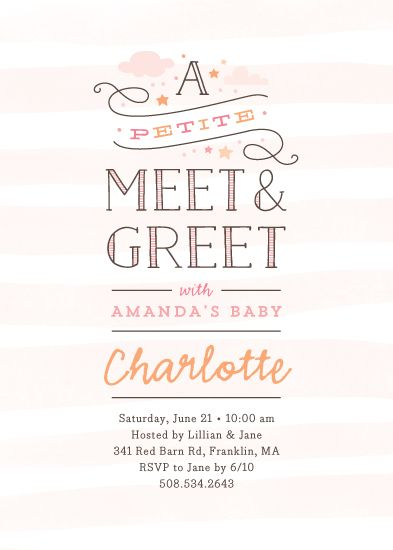A Pee Take On Meet And Greets Darling Typographic Design With Painted Stripes Stars Clouds Baby Ogle Pinterest Shower Invitations